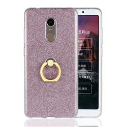 Luxury Soft TPU Glitter Back Ring Cover with 360 Rotate Finger Holder Buckle for Mi Xiaomi Redmi 5 Plus - Pink