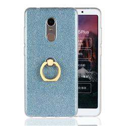 Luxury Soft TPU Glitter Back Ring Cover with 360 Rotate Finger Holder Buckle for Mi Xiaomi Redmi 5 Plus - Blue