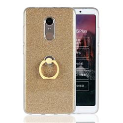 Luxury Soft TPU Glitter Back Ring Cover with 360 Rotate Finger Holder Buckle for Mi Xiaomi Redmi 5 Plus - Golden