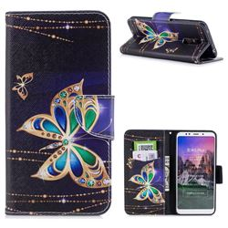 Golden Shining Butterfly Leather Wallet Case for Mi Xiaomi Redmi 5 Plus
