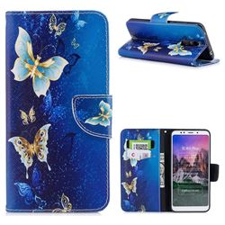Golden Butterflies Leather Wallet Case for Mi Xiaomi Redmi 5 Plus