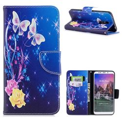 Yellow Flower Butterfly Leather Wallet Case for Mi Xiaomi Redmi 5 Plus