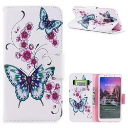 Peach Butterflies Leather Wallet Case for Mi Xiaomi Redmi 5 Plus