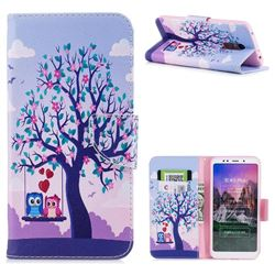 Tree and Owls Leather Wallet Case for Mi Xiaomi Redmi 5 Plus