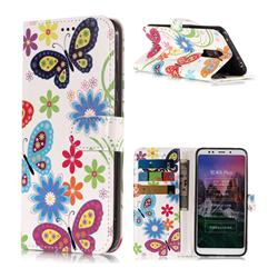 Color Flower Butterfly PU Leather Wallet Phone Case for Mi Xiaomi Redmi 5 Plus