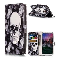 Rose Flower Skull PU Leather Wallet Phone Case for Mi Xiaomi Redmi 5 Plus