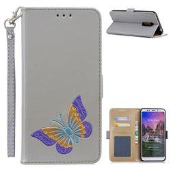 Imprint Embossing Butterfly Leather Wallet Case for Mi Xiaomi Redmi 5 Plus - Grey
