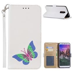 Imprint Embossing Butterfly Leather Wallet Case for Mi Xiaomi Redmi 5 Plus - White