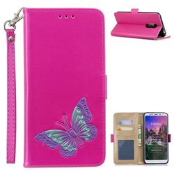 Imprint Embossing Butterfly Leather Wallet Case for Mi Xiaomi Redmi 5 Plus - Rose Red