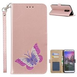 Imprint Embossing Butterfly Leather Wallet Case for Mi Xiaomi Redmi 5 Plus - Rose Gold
