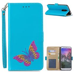 Imprint Embossing Butterfly Leather Wallet Case for Mi Xiaomi Redmi 5 Plus - Sky Blue