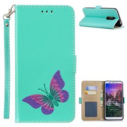 Imprint Embossing Butterfly Leather Wallet Case for Mi Xiaomi Redmi 5 Plus - Mint Green