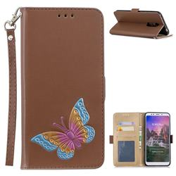 Imprint Embossing Butterfly Leather Wallet Case for Mi Xiaomi Redmi 5 Plus - Brown