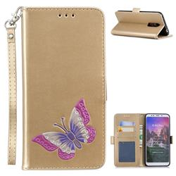 Imprint Embossing Butterfly Leather Wallet Case for Mi Xiaomi Redmi 5 Plus - Golden