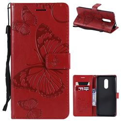 Embossing 3D Butterfly Leather Wallet Case for Mi Xiaomi Redmi 5 Plus - Red