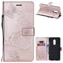 Embossing 3D Butterfly Leather Wallet Case for Mi Xiaomi Redmi 5 Plus - Rose Gold