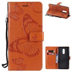Embossing 3D Butterfly Leather Wallet Case for Mi Xiaomi Redmi 5 Plus - Orange