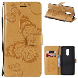 Embossing 3D Butterfly Leather Wallet Case for Mi Xiaomi Redmi 5 Plus - Yellow