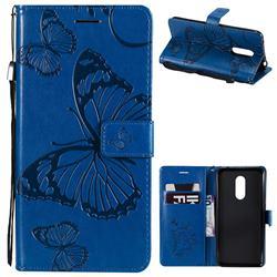 Embossing 3D Butterfly Leather Wallet Case for Mi Xiaomi Redmi 5 Plus - Blue