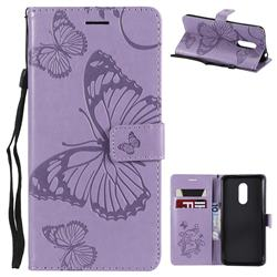 Embossing 3D Butterfly Leather Wallet Case for Mi Xiaomi Redmi 5 Plus - Purple