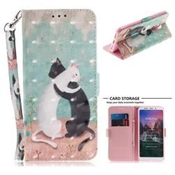 Black and White Cat 3D Painted Leather Wallet Phone Case for Mi Xiaomi Redmi 5 Plus