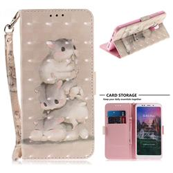 Three Squirrels 3D Painted Leather Wallet Phone Case for Mi Xiaomi Redmi 5 Plus