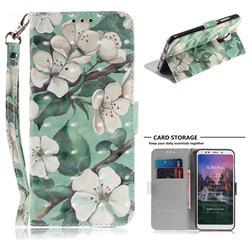 Watercolor Flower 3D Painted Leather Wallet Phone Case for Mi Xiaomi Redmi 5 Plus