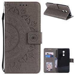Intricate Embossing Datura Leather Wallet Case for Mi Xiaomi Redmi 5 Plus - Gray