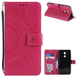 Intricate Embossing Datura Leather Wallet Case for Mi Xiaomi Redmi 5 Plus - Rose Red