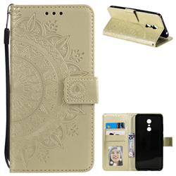 Intricate Embossing Datura Leather Wallet Case for Mi Xiaomi Redmi 5 Plus - Golden