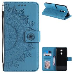Intricate Embossing Datura Leather Wallet Case for Mi Xiaomi Redmi 5 Plus - Blue