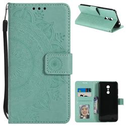 Intricate Embossing Datura Leather Wallet Case for Mi Xiaomi Redmi 5 Plus - Mint Green