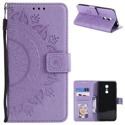 Intricate Embossing Datura Leather Wallet Case for Mi Xiaomi Redmi 5 Plus - Purple