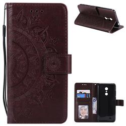 Intricate Embossing Datura Leather Wallet Case for Mi Xiaomi Redmi 5 Plus - Brown
