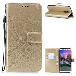 Intricate Embossing Butterfly Circle Leather Wallet Case for Mi Xiaomi Redmi 5 Plus - Champagne