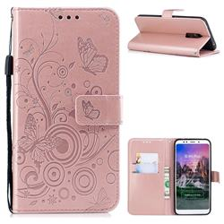 Intricate Embossing Butterfly Circle Leather Wallet Case for Mi Xiaomi Redmi 5 Plus - Rose Gold