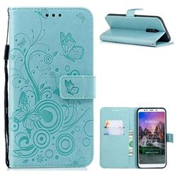 Intricate Embossing Butterfly Circle Leather Wallet Case for Mi Xiaomi Redmi 5 Plus - Cyan