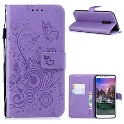 Intricate Embossing Butterfly Circle Leather Wallet Case for Mi Xiaomi Redmi 5 Plus - Purple