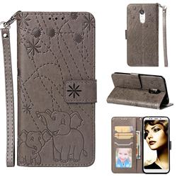 Embossing Fireworks Elephant Leather Wallet Case for Mi Xiaomi Redmi 5 Plus - Gray