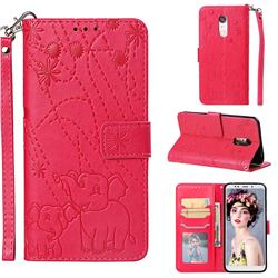 Embossing Fireworks Elephant Leather Wallet Case for Mi Xiaomi Redmi 5 Plus - Red