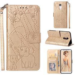 Embossing Fireworks Elephant Leather Wallet Case for Mi Xiaomi Redmi 5 Plus - Golden