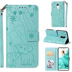 Embossing Fireworks Elephant Leather Wallet Case for Mi Xiaomi Redmi 5 Plus - Green