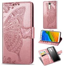 Embossing Mandala Flower Butterfly Leather Wallet Case for Mi Xiaomi Redmi 5 Plus - Rose Gold