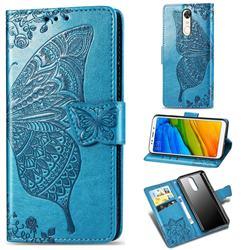 Embossing Mandala Flower Butterfly Leather Wallet Case for Mi Xiaomi Redmi 5 Plus - Blue