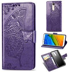 Embossing Mandala Flower Butterfly Leather Wallet Case for Mi Xiaomi Redmi 5 Plus - Dark Purple