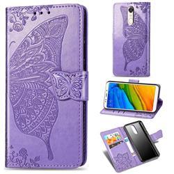 Embossing Mandala Flower Butterfly Leather Wallet Case for Mi Xiaomi Redmi 5 Plus - Light Purple