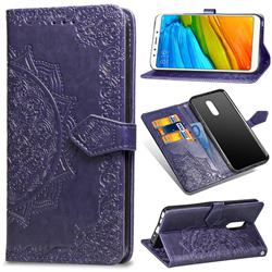 Embossing Imprint Mandala Flower Leather Wallet Case for Mi Xiaomi Redmi 5 Plus - Purple