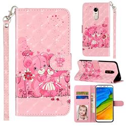 Pink Bear 3D Leather Phone Holster Wallet Case for Mi Xiaomi Redmi 5 Plus