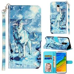 Snow Wolf 3D Leather Phone Holster Wallet Case for Mi Xiaomi Redmi 5 Plus