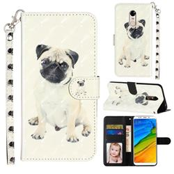Pug Dog 3D Leather Phone Holster Wallet Case for Mi Xiaomi Redmi 5 Plus